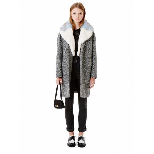 Manteau oversize en tweed A chevrons